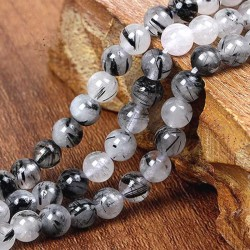 Black Rutilated Quartz Beads Natural Stone
