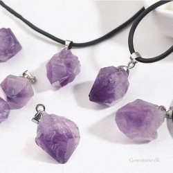 Amethyst Crystal Pendant Leather Necklace