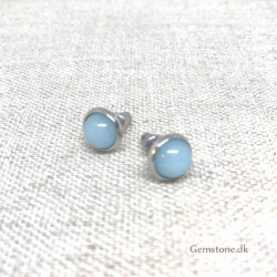 Aquamarine Stud Earrings Natural Stone 8mm Stainless Steel