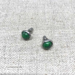 Malachite Stud Earrings Natural Stone 8mm Stainless Steel