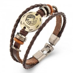 Leather Bracelet Zodiac Sign Men's Bracelet
