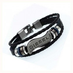 Leather Bracelet Diesel Braided Men's Bracelet