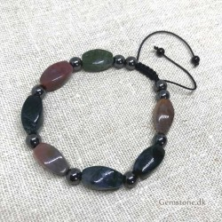 Bracelet Agate / Hematite Braided Cord Closure