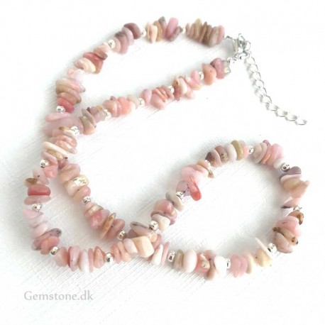 Pink Opal Necklace Natural Stone Chips