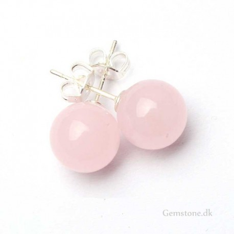 Rose Quartz Silver Stud Earrings