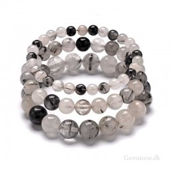 Turmalinkvarts armbånd 6mm 8mm 10mm Natural Rutilated Tourmaline Quartz Bracelet