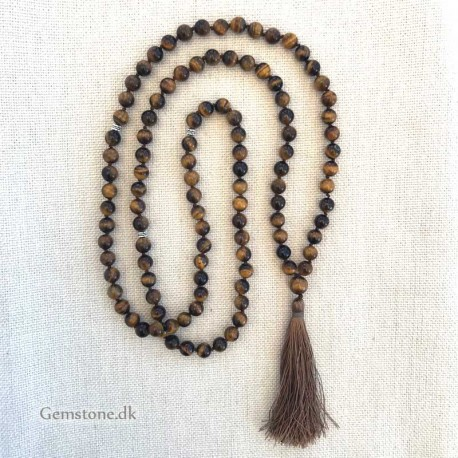 Mala 108 Tiger Eye Stone Beads 8mm Knotted Necklace