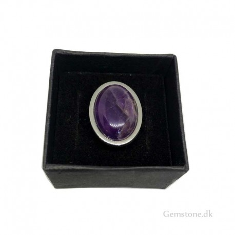 Ring Amethyst Oval Natural Stone / Stainless Steel Adjustable Finger Ring