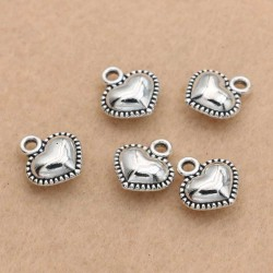 Puffed Heart Charms Bracelet Silver Pendants DIY jewelry