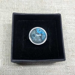 Ring Crazy Blue Agate Round Gemstone Stainless Steel