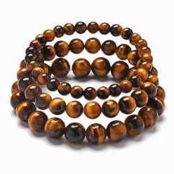 Tigerøje armbånd 6-8-10mm ægte sten Natural Tiger Eye