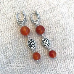 Earrings Carnelian Natural Stone Silver Leverbacks