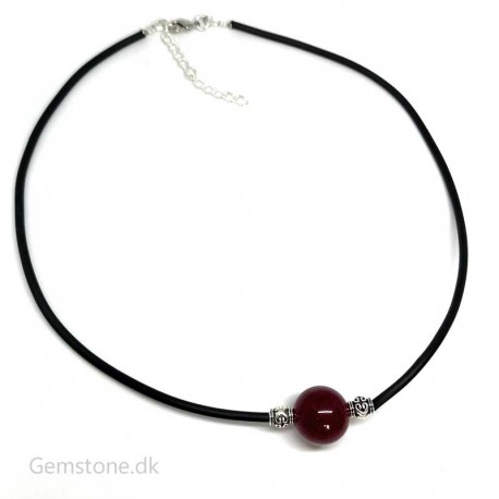 Ruby Gemstone Bead / Rubber Cord Necklace