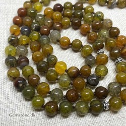 Mala 108 Agate Yellow Dragon Stone Beads 8mm Knotted Necklace