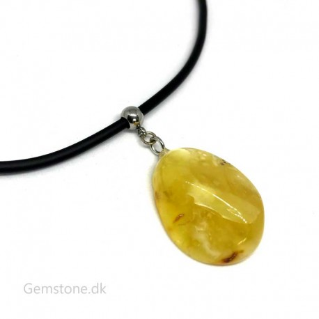 Amber Pendant Black Rubber Cord Necklace