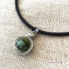African Turquoise Wrapped Pendant Silicone Necklace