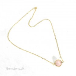 Gold Plated Chain Natural Rose Quartz Ball 10mm