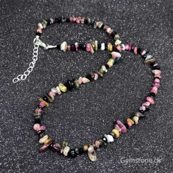 Necklace Multicolor Tourmaline Natural Stone Chips