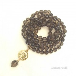 Mala 108 Smoky Quartz Stone Beads 8mm Knotted Necklace
