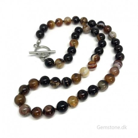 Necklace Agate Brown Gemstone Knotted Design