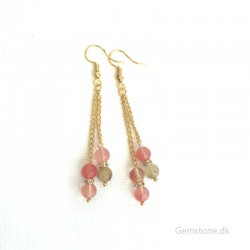 Earrings Tourmaline Crystal Gold Plated Stainless Steel
