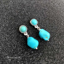 Turquoise Stud Earrings Tibetan Silver