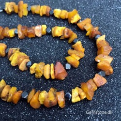 Halskæde Rav / Hæmatit Natural Unpolished Baltic Amber
