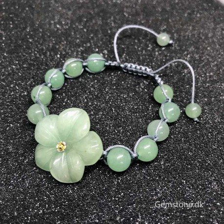 Bracelet Green Aventurine Carved Flower Natural Stone