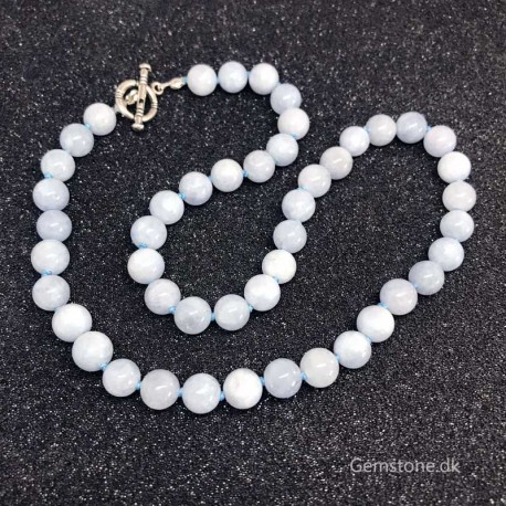 Aquamarine Necklace Natural Stone Knotted Design