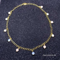 Gold Plated Chain Natural Rose Quartz / Opal Beads