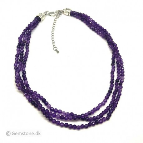 Amethyst Necklace Faceted Beads 3 Rows Natural Stone