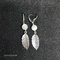 Earrings White Cat's Eye Antique Silver Leverback Hooks