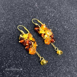 Rav øreringe Gold Rain Natural Baltic Amber