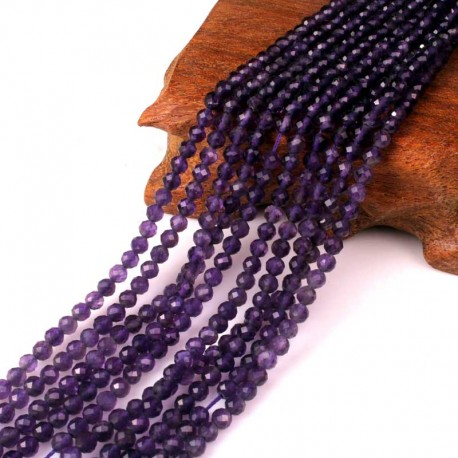 Ametyst facetperler 4mm 1 streng Natural Amethyst Faceted Beads
