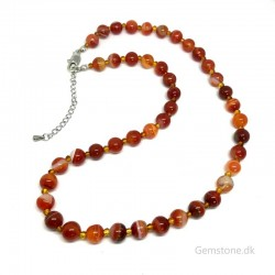 Karneol halskæde ægte sten 8mm perler Natural Red Carnelian Gemstone