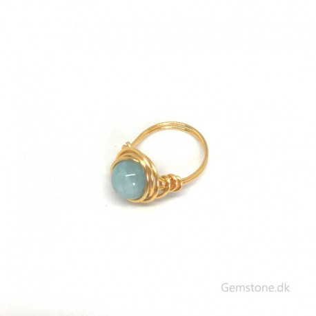 Akvamarin ring KC guld wire fingerring