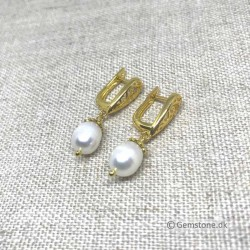 Freshwater Pearl Earrings Gold Plated Natural White Pearl