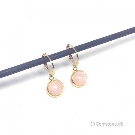 Rose Quartz Earrings Gold Stainless Steel Leverbacks