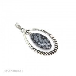 Pendant Obsidian Snowflake Antique Silver Oval Pendant