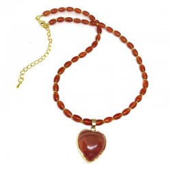 Carnelian Necklace Heart Pendant Natural Stone