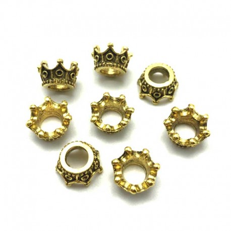Crown Charms Antique Gold Spacer Beads DIY Jewelry