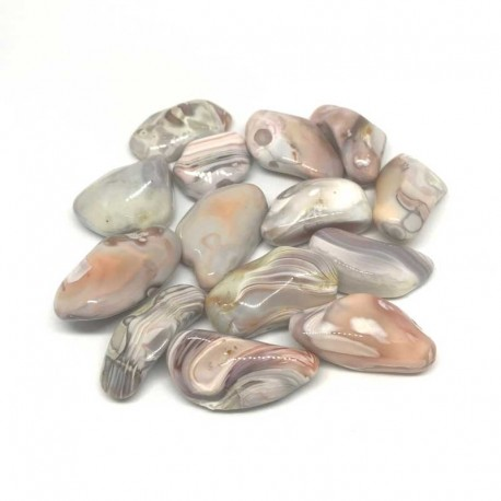 Agate Pink Lace Natural Tumbled Stone
