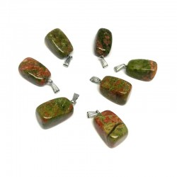 Unakite Pendant Natural Stone Irregular Form