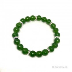 Jade Green & Rhinesten Bracelet 8mm gemstone beads