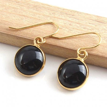 Black Onyx Earrings Gold Plated Handmade