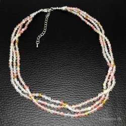 Necklace Watermelon Tourmaline Faceted 3 Rows Crystal Stone