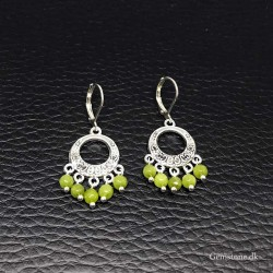 Earrings Peridot Gemstone Antique Silver Leverbacks