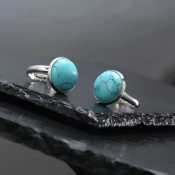 Turquoise Ring Stainless Steel Adjustable Size