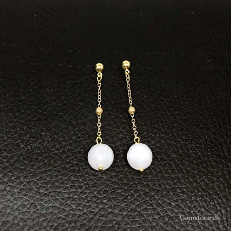 Earrings White Jade Faceted Beads Gold Plated Chain