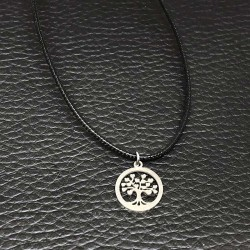 Leather Necklace Life Tree Pendant Stainless Steel